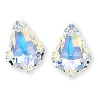 Swarovski Crystal, 6090 Baroque Pendant 16x11mm, 2 Pieces, Crystal AB