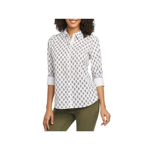 Foxcroft Womens Button-Down Shirt Wrinkle Free Cuff Sleeves