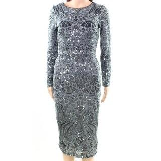 Betsy & Adam Gunmetal Womens Plus Sequin Sheath Dress