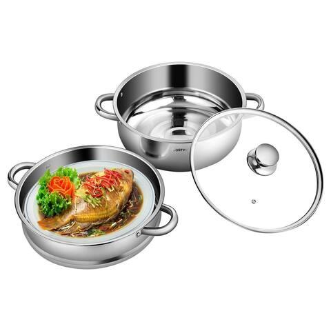 9.5 QT 2 Tier Stainless Steel Steamer Cookware Boiler - Silver