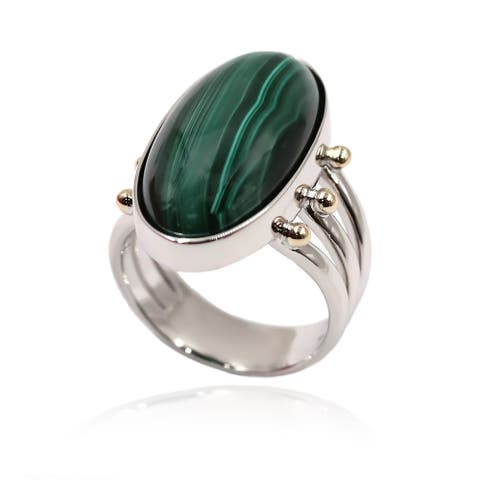 14k Gold and Sterling Silver Green Agate Ring