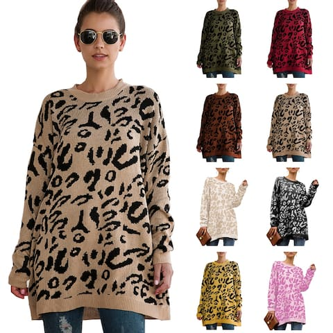 Haute Edition Leopard Print Tunic Pullover Thick Knit Sweater