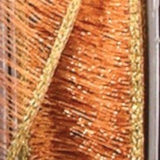 "Shimmering Metallic Copper Mesh Wired Craft Ribbon 1.5"" x 54 Yards"