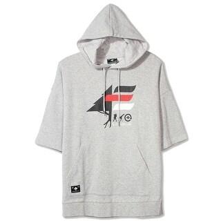 LRG NEW Gray Heather Mens Size Medium M Logo-Print Hooded Fleece Sweater