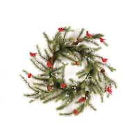 "24"" Country Cabin Glittered Cardinal Snow Pine Artificial Christmas Wreath - Unlit - WHITE"