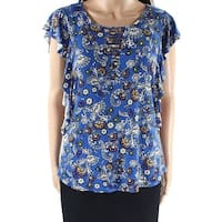 Bobeau Blue Womens Size Small S Flutter-Sleeve Floral Knit Top