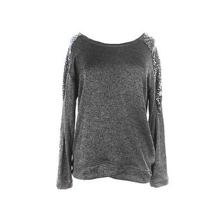 Ny Collection Multi Long-Sleeve Sequin Shoulder Sweatshirt M