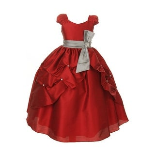 Girls Apple Red Rhinestone Silver Bow Sash Pick Up Pageant Dress 8-12 (Option: 8)
