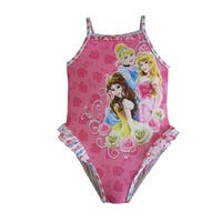 Disney Baby Girls Pink Princess Print Ruffle Detail One Piece Swimsuit