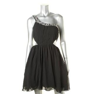 City Studio Womens Juniors Embellished One Shoulder Semi-Formal Dress - 7
