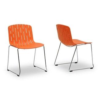 Ximena Orange Plastic Modern Dining Chair  - 2 Chairs