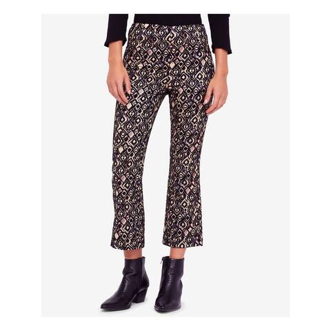 FREE PEOPLE Womens Black Printed Cropped Formal Pants Size 10