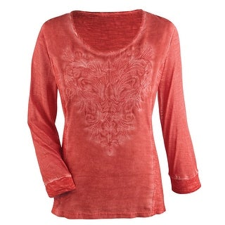 Women's Tunic Top - Embroidered Bodice 3/4 Sleeves Scoop Neck - Coral