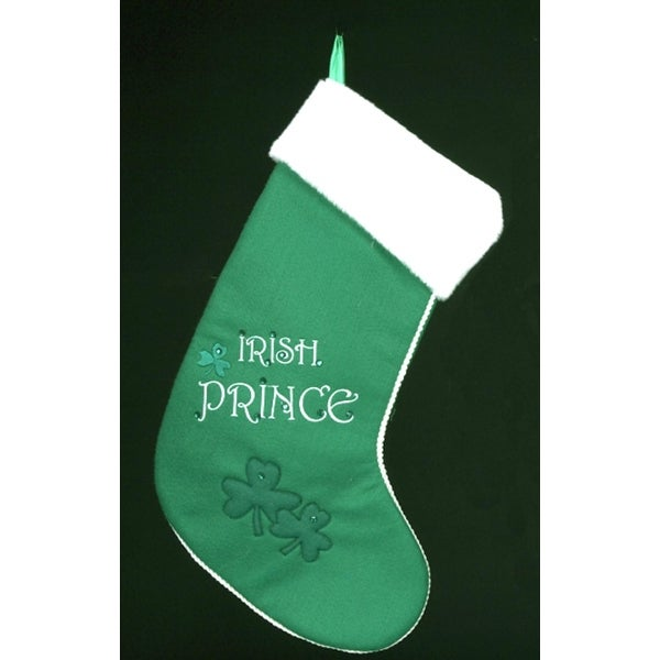"17"" Luck of the Irish Green and White ""Irish Prince"" Christmas Stocking"