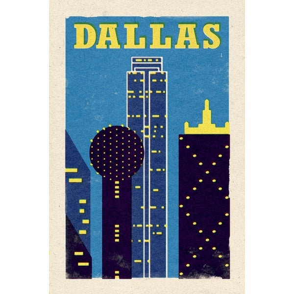 Dallas, TX - Woodblock - LP Artwork (100% Cotton Towel Absorbent)