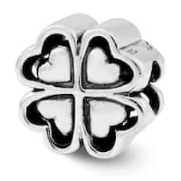 Sterling Silver Reflections Four Leaf Heart Clover Bead (4mm Diameter Hole)