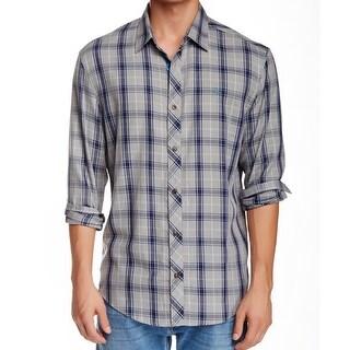 PENGUIN NEW Gray Blue Mens XL Woven Classic Fit Button Down Plaid Shirt