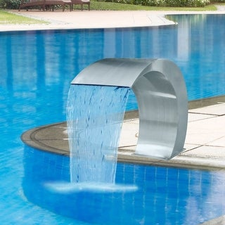 "vidaXL Garden Waterfall Pool Fountain Stainless Steel 17.7"" x 11.8"" 23.6"""