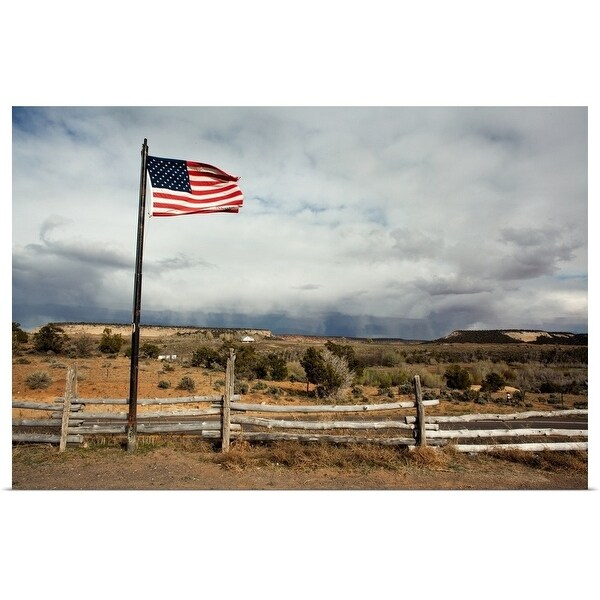 """""""American Flag blowing in the wind"""" Poster Print"""