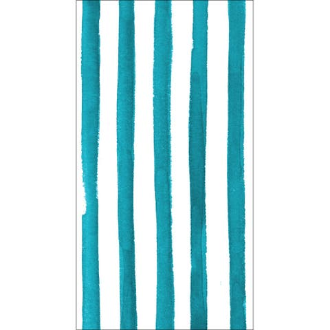 "Club Pack of 192 Peacock Blue Dotted and Striped Premium 3-Ply Disposable Party Napkins 8"" - N/A"
