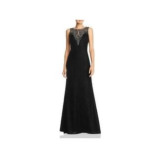 Adrianna Papell Womens Evening Dress Velvet Beaded