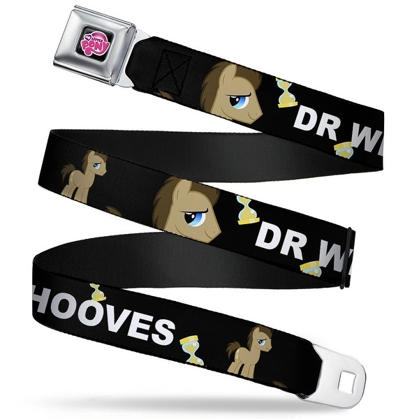 My Little Pony Logo Full Color Black Pink Dr. Whooves Pose Hour Glass Black Seatbelt Belt