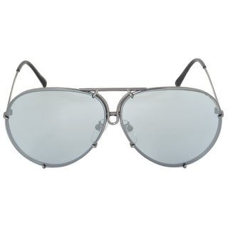Porsche Design Aviator Sunglasses P8978 C 66 Gunmetal Frame Blue Mirror Lenses