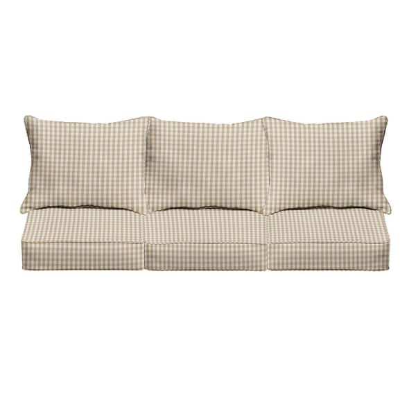 Beige White Check Indoor Outdoor Pillow And Cushion Sofa Set Corded 25 In X 69 In X 27 In 25 In X 69 In X 27 In Overstock 31819275