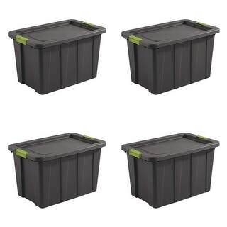Sterilite 30 gal Gray & Soft Fern Tuff1 Latching Tote, Pack of 4