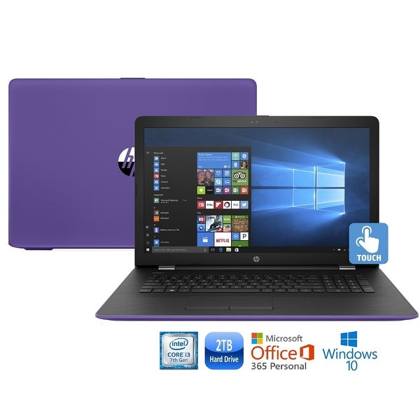 "HP 17-bs008cy Core i3-7100 2TB HDD 17.3"" HD+ Touch Screen MS Office 365 Laptop - Purple"