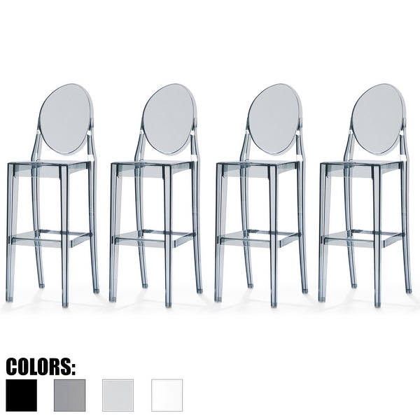 "2xhome Set of 4 Smoke Modern 30"" Seat Bar Stool Counter Height with Back Transparent Crystal Kitchen Home Restaurant Commerical"