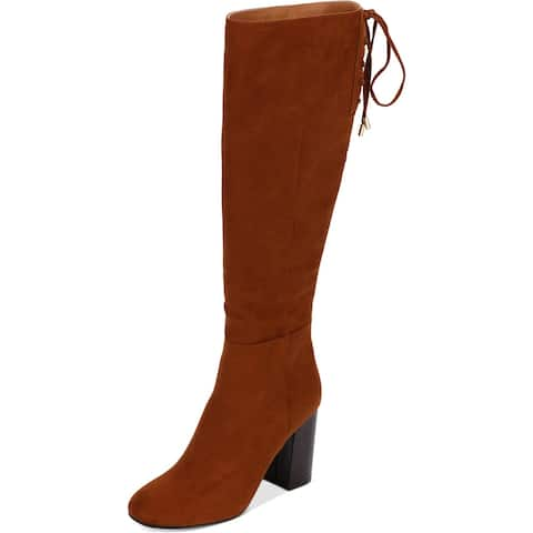 Kenneth Cole Reaction Womens Corie Lace Dress Boots Faux Suede Tall