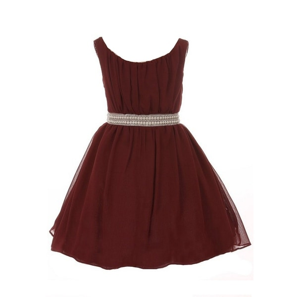 Shop Girls Burgundy Pearl Rhinestone Belt Pleated Junior Bridesmaid Dress - Free  Shipping On Orders Over  45 - Overstock.com - 26445237 466764e40eb0