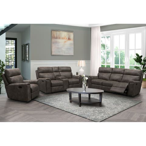 Abbyson Lawrence Fabric Manual Reclining Sofa Set