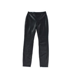 INC NEW Deep Black Womens Size 2 Faux Leather Stretch Skinny Pants