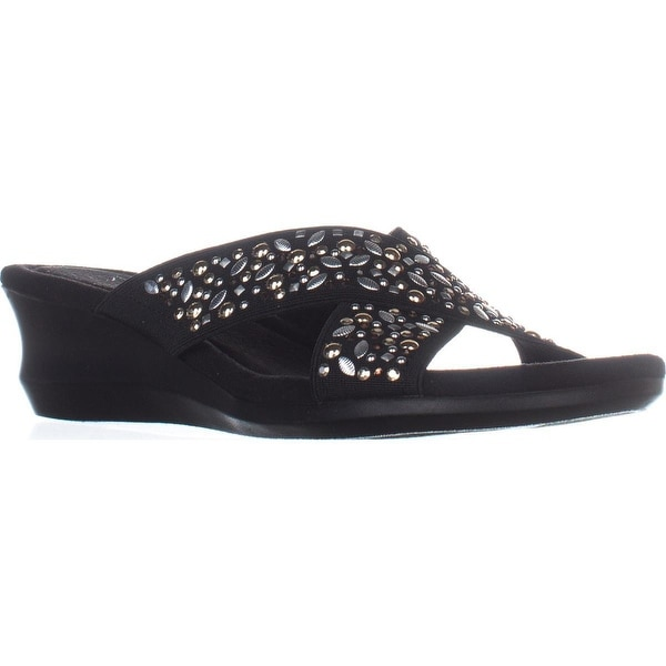 1ce1086b2e1c8 Shop Impo Gypsy Slide Wedge Sandals, Black - Free Shipping On Orders ...