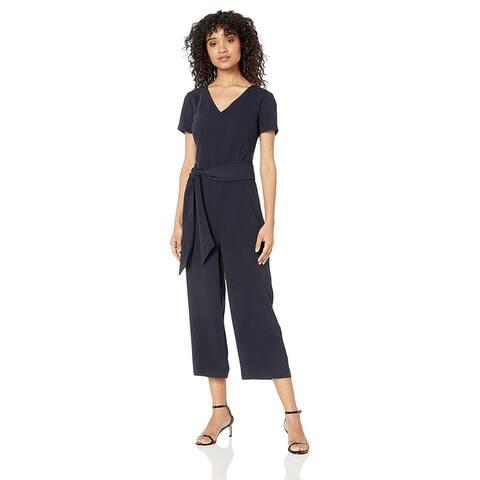 Lark & Ro Women's Short Sleeve V Neck Belted Wide Leg Jumpsuit, Atlantic Navy...