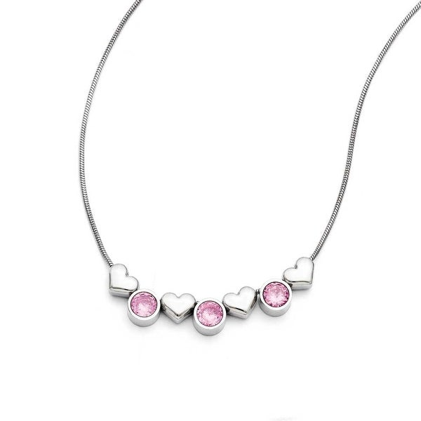 Chisel Stainless Steel Hearts/Pink CZs with 1.25in ext. Necklace (1 mm) - 17.5 in