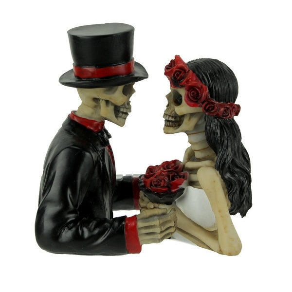 Eternally Yours Deathly Devotion Skeleton Bride and Groom Statue Set - 3.25 X 3.75 X 3.25 inches