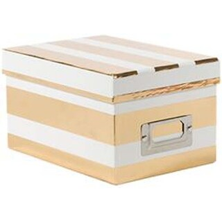 "White & Gold Foil Wide Stripes - DCWV Mini Box W/Bookplate 5.33""X7.33""X4.25"""