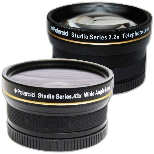 Polaroid Studio Series 52/55/58mm .43x HD Wide Angle Lens + 2.2X Telephoto Lens