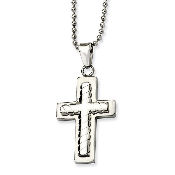 Chisel Stainless Steel Cross Pendant 24 Inch Necklace (2 mm) - 24 in