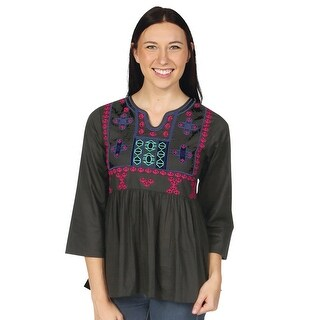 Women's Peasant Tunic Top - Empire Waist Embroidered Shirt