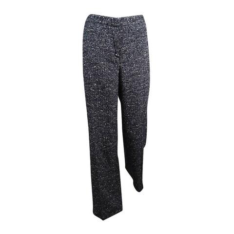 Sutton Studio Women's Wool Blend Pant (8, Black/White) - Peacock - 8