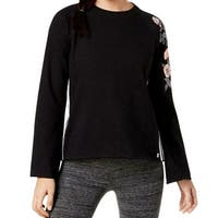 Calvin Klein Black Womens Size Large L Embroidered Pullover Sweater
