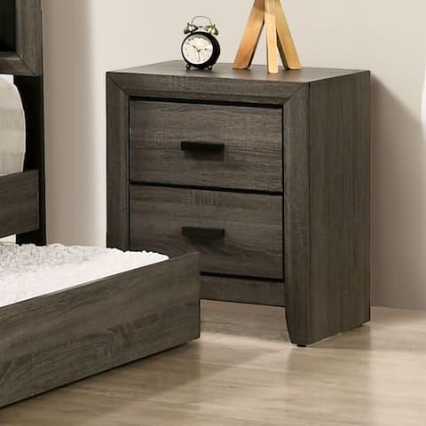 Furniture of America Vilk Transitional Grey Solid Wood Nightstand