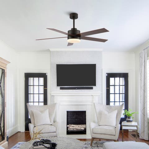 GetLedel 52-inch 5-Blade LED Standard Ceiling Fan with Remote Control and Light Kit Included