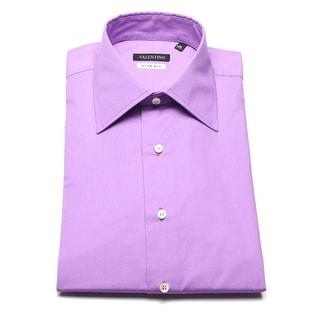 Valentino Men's Slim Fit Cotton Dress Shirt Magenta - 15 us (39 eur)