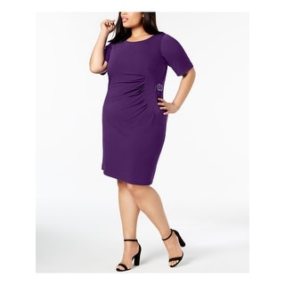 JESSICA HOWARD Womens Purple Starburst Pleated Short Sleeve Jewel Neck Above The Knee Sheath Cocktail Dress Plus  Size: 14W