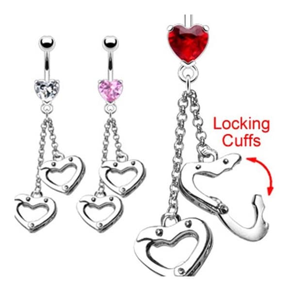 Surgical Steel Prong-Set Heart Navel Belly Button Ring with Moving Handcuff Heart Dangle (Sold Ind.)